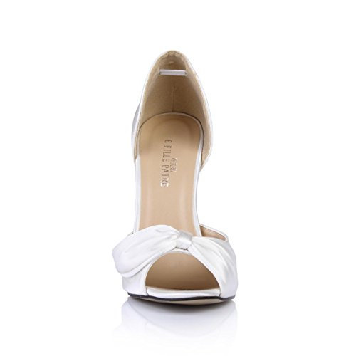 4U High Women's White Faux Heels Sole Rubber Pumps Wedding Shoes Summer Peep Best Sandals 12CM toe Silk dFfxPqdg