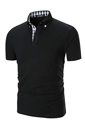 - Musen Men Short Sleeve Polo Shirt Causal Slim Fit Modern Glof Polo Shirts with Plaid Collar Black Small