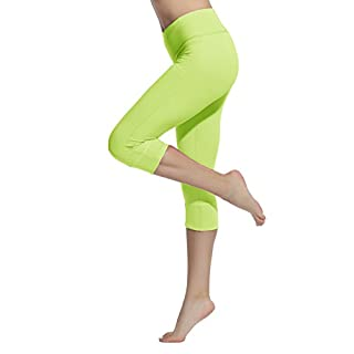Lotsyle Women's Running Tight Yoga Fitness Leggings Stretch Training Trousers Pants Green-M