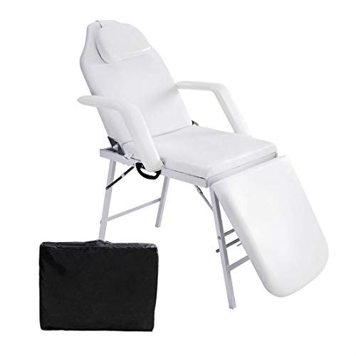 73″ Portable Tattoo Parlor Spa Salon Facial Bed Beauty Massage Table Chair White