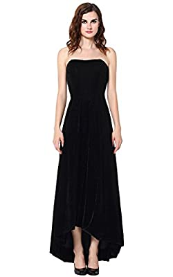 Vegeron Strapless Velvet Hi-Lo Evening Dress for Women Formal Prom Gown