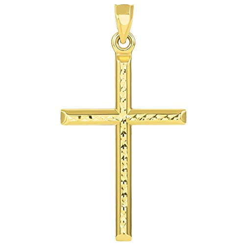 14k Yellow Gold Textured Religious Classic Tube Cross Pendant