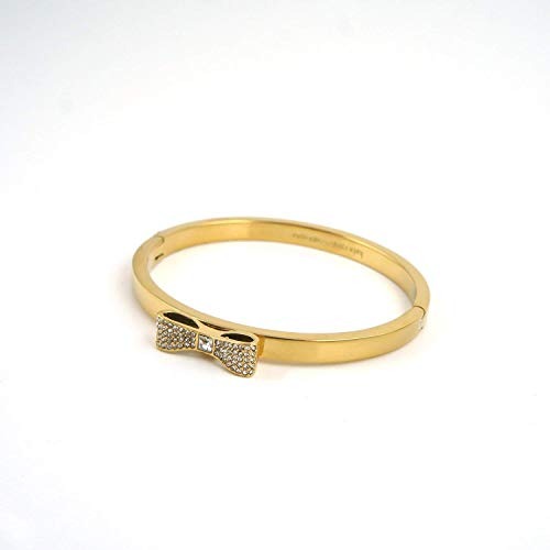(Kate Spade Take a Bow Bangle Gold Tone Pave Bangle Bracelet )