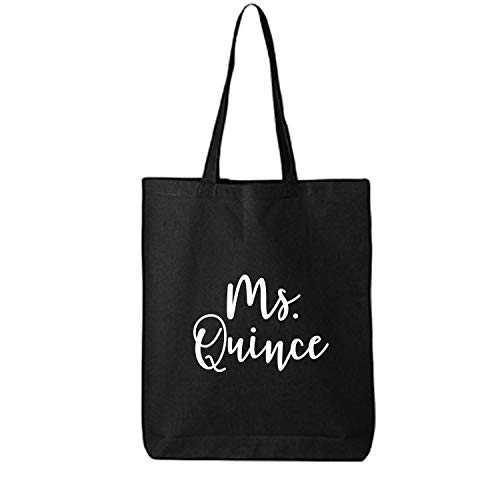 MS.QUINCE Cotton Canvas Tote Bag in Black - One Size