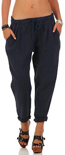 Bleu Pantalon 6816 De Avec Loisirs Foncé Ceinture Femme Élastique Linge Malito PB7wxx