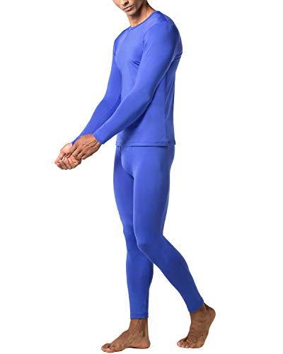 (LAPASA Men's Lightweight Thermal Underwear Long John Set Fleece Lined Base Layer Top and Bottom M11 (Medium, Blue))