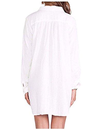 Elegante Bianco Maglia Casual Loose Basic Lunga Top Shirt Manica Donna ZANZEA Camicie Forti Taglie zqTTOC