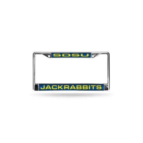 Rico Industries NCAA South Dakota State Jackrabbits Laser Cut Inlaid Standard License Plate Frame, Chrome, 6