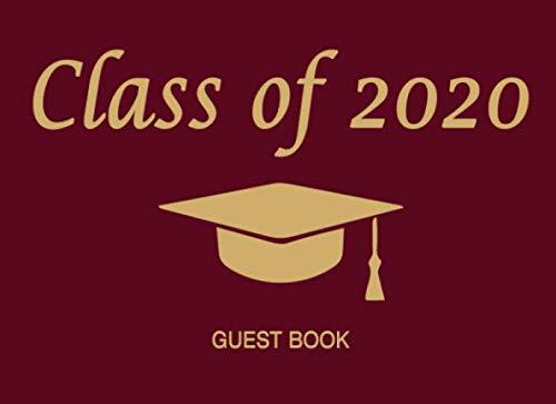 Class of 2020 Guest Book: Graduation Cap & Tassel Gold On Maroon -