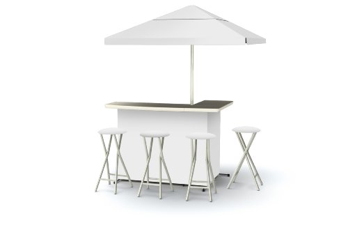 Best of Times Patio Bar and Tailgating Center Deluxe Package- Solid White (Set Portable Tailgate Bar)