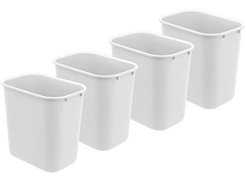 Acrimet Wastebasket 27QT Plastic (White Color) (4 Pack)