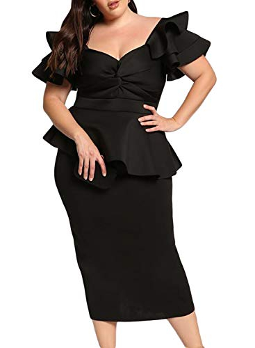 AlineMyer Womens Plus Size Ruffle Sleeve Peplum Cocktail Evening Party Midi Dress Black 2X