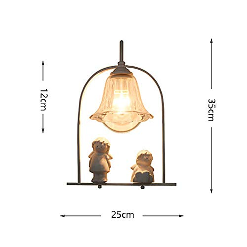 JZX European Crystal Angel Wall Lamp Simple Modern Single Head Wrought Iron Glass Lampshade Living Room Bedroom Study Garden Garden Porch Villa Fixture 220/240W ()