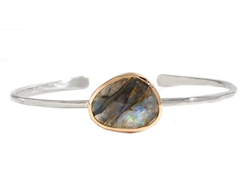 Melissa Joy Manning Freeform Labradorite Sterling Silver Cuff - Earrings Melissa Aquamarine Joy Manning