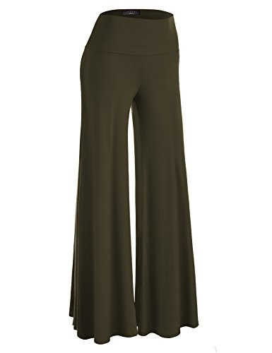 - Made By Johnny WB750 Womens Chic Palazzo Lounge Pants L Olive