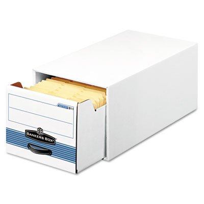 Bankers Box - Stor/Drawer Steel Plus Storage Box Check Size Wire White/Blue 12/Ctn