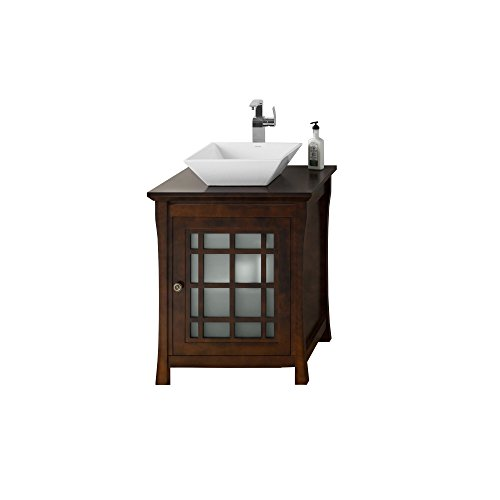 RONBOW Shoji 27 inch Bathroom Vanity Set in Vintage Walnut, Bathroom Vanity with Top with Single Faucet Hole in Solid Wood Finish and Cabinet Shelf, White Ceramic Vessel Sink 040425-F07_Kit_2