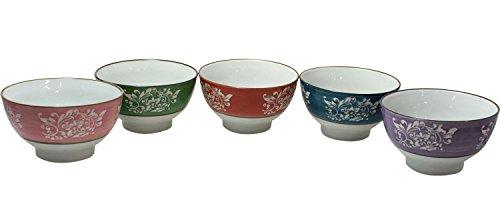 JustNile Food Grade Ceramic Serving Bowl Set for Soup Cereal Rice Noodles Salad, Microwavable Dishwasher-Safe, Asian Multi-Color Floral Design, Pack of 5, 12 Ounce Each