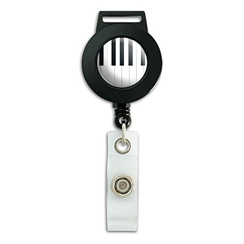 Piano Keys Music Lanyard Retractable Reel Badge ID Card Holder