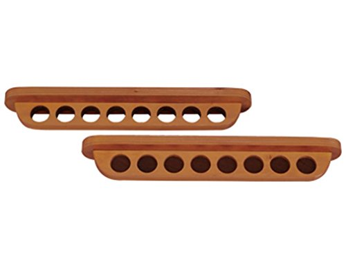 Roman Shaped 8 Pool Cue Stained Wood Wall Rack, Honey ()