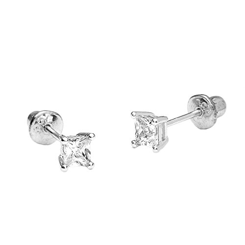 14k White Gold 3mm Basket Princess Cut Cubic Zirconia Children Screw Back Baby Girls Earrings - Baby Jewelry White Gold