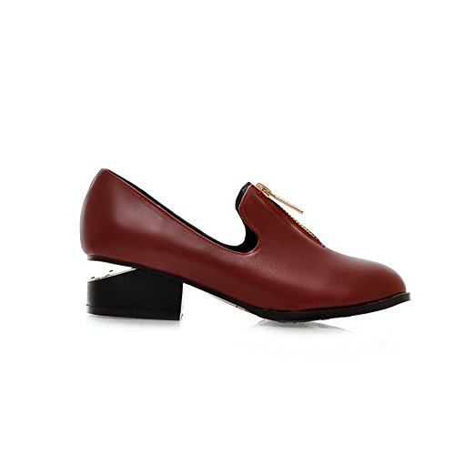 AmoonyFashion Womens Closed Pointed Toe Low Heel Chunky Heels PU Soft Material Solid Pumps with Zipper Red E2cVMzkpvZ