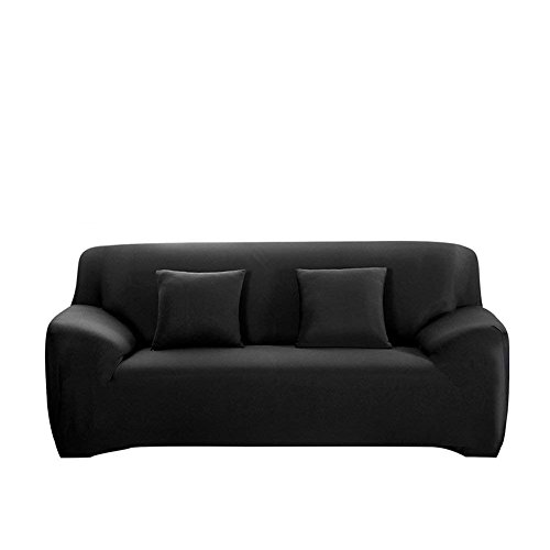 FORCHEER Stretch Couch Covers 1-Piece Sofa Cover Polyester Spandex Fabric Sofa Slipcover (Sofa, Black)