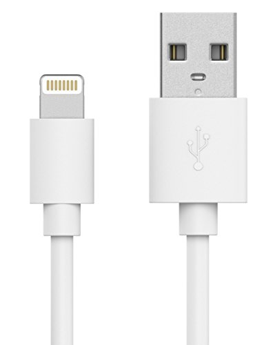 ing Cable (6ft) iPhone Charger Cable Apple MFI Certified for iPhone 5 and Higher - XS, XS Max, XR, X, 8, 8 Plus, iPad, and iPod with a Lightning Connector - White ()
