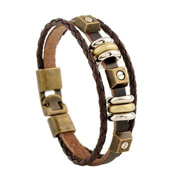 - Vintage Multilayer Bracelets Beads Irregular Geometric Weave Leather Bracelet Ethnic Jewelry for Men - Men Jewelry Men Bracelets - (Brown)