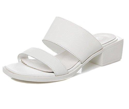 Blanco Y Cuero Gruesos Planos Zapatos Sandalias Antideslizantes Los Cómodos Con De Zapatillas Sra Estudiantes qOHwXF5H