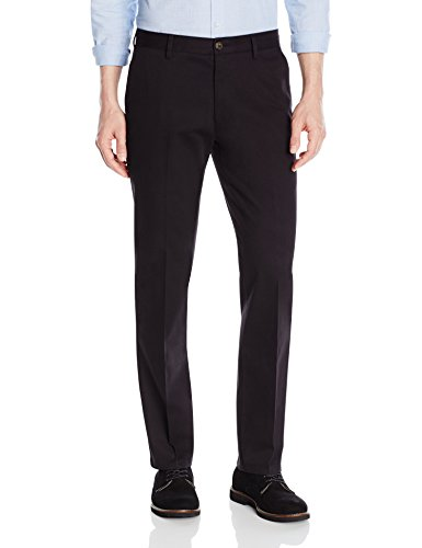Goodthreads Men's Straight-Fit Wrinkle-Free Dress Chino Pant, Black, 33W x 32L