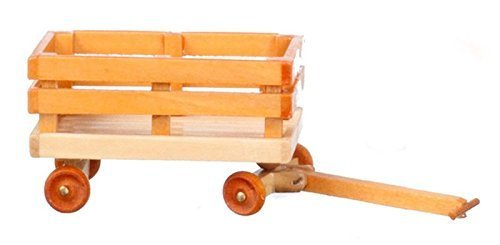 Dollhouse Miniature Wooden Wagon in Natural & Red Wood Color with Movable Parts for 1 Inch Scale 1:12 Doll House