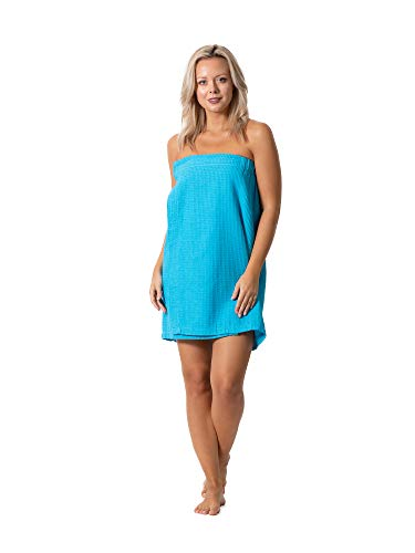 Women's Waffle Spa Body Wrap with Adjustable Closure (One Size, Turquoise)