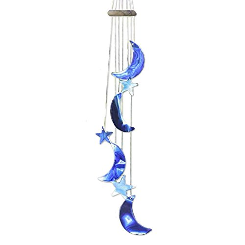 NOVICA ODL0011 Blue Moon and Stars' Wind Chimes (Moon Chime)