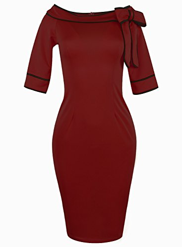 Celebrity Red Dress (Donsane Women's Celebrity Vintage Bowknot Party Cocktail Stretch Bodycon Pencil Dress (X-Large, Pure red))