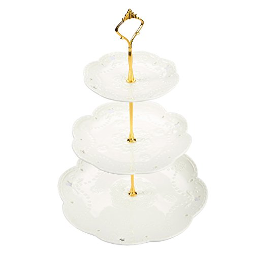 Juvale 3-Tier Ceramic Dessert Cupcake Fruit Serving Stand Tower