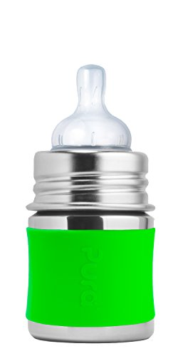 pura-stainless-steel-bottle-with-silicone-nipple-sleeve-green