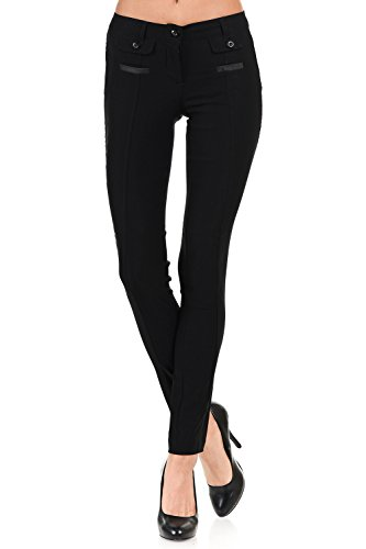VIRGIN ONLY Women's Color Trouser Pants with Flap Button Pockets (01 Black, Size Medium) by VIRGIN ONLY