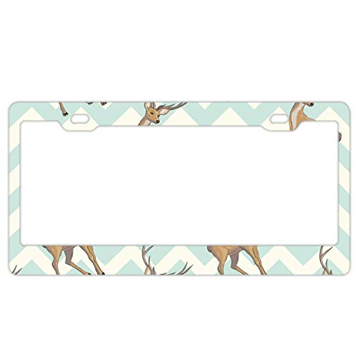 (YEX Abstract Reindeer8 License Plate Frame Car Licence Plate Covers Auto Tag Holder 6