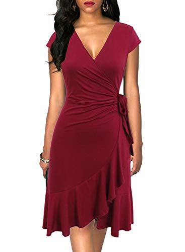 Berydress Women's Classic Cap Sleeve V-Neck Knee-Length Sheath Ruffle Cocktail Work Black Faux Wrap Dress (S, 6092-Burgundy)