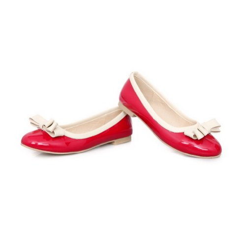 WeiPoot Womens Closed Round Toe PU Patent Leather Solid Flats with Bowknot Red r8alSG