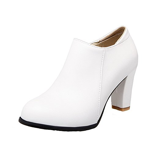 Round Heels PU Zipper White Solid Toe WeiPoot Women's Shoes Pumps High qt5YRwTax