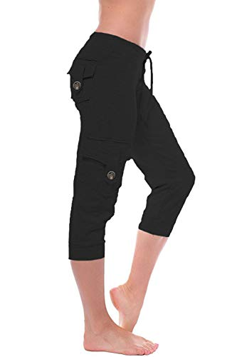 HSRKB Women's Yoga Capris Workout Pants Athletic Cropped Pants with Muti Pockets Black