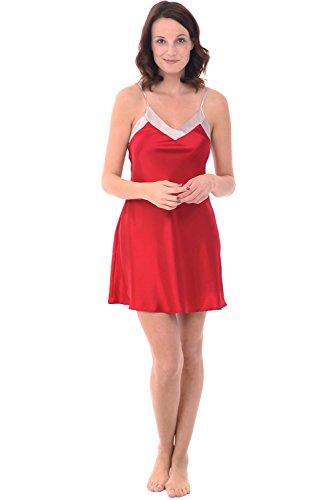 Alexander Del Rossa Womens Satin Nightgown, Contrast Trimmed Tank Nightie