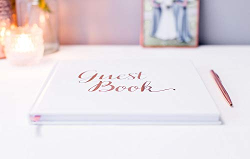 [New] Blank Wedding Guest Book Guestbook Rose Gold & White Paper with NO Lines - Registry Books - Rosegold Foil Stamping and 180GSM Paper 32 Pages 64 Sides Square Photo #2