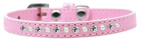 Mirage Pet Products Pearl and Clear Crystal Light Pink Puppy Dog Collar, Size 12 by Mirage Pet Products