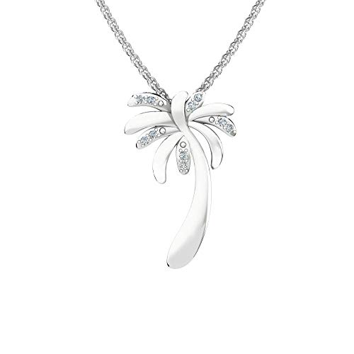 Solid Sterling Silver Tropical Palm Tree Natural 1/3carat White Diamond Pendant Necklace with 17.5 Inch Chain, High Polished Rhodium Plated Sterling Silver Pendant for women