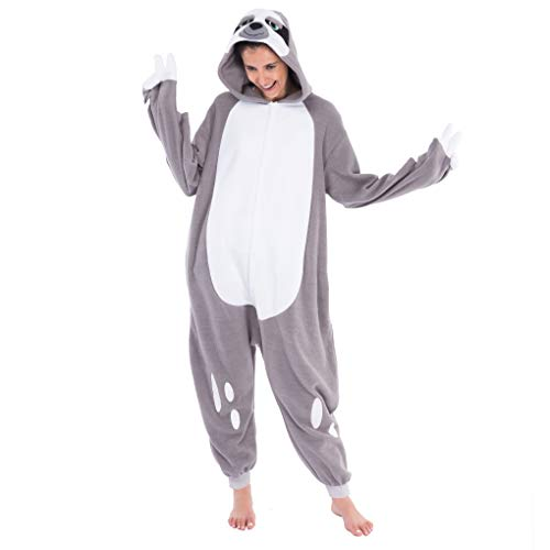 Spooktacular Creations Sloth Pajamas Unisex Plush Cosplay Halloween Animal Costume Onesie Adult Size (Medium) Gray]()