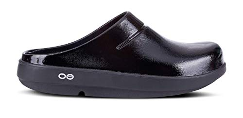 OOFOS Unisex Oocloog Satin Clog Mule,Black,8 B(M) US Women / 6 D(M) US Men (Best Places To Shop For Teacher Clothes)