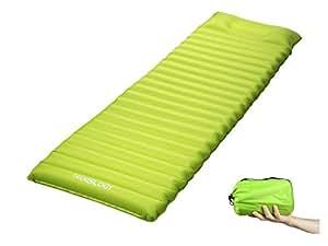 Trekology Ultralight Sleeping Pad, Inflating Camping Mattress w/Air Pump Dry Sack Bag - Compact Lightweight Camp Mat, Inflatable Backpacking Gear as Tent Pads, Hammock Mats for Travel, Hiking, Sleep (Green with Built-in Pillow)